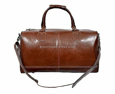 """""""HOLDALL""""Chestnut Brown Large Weekend Duffle Travel Gym Real Genuine Leather Bag"""
