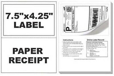 200 SHIPPING LABELS with Tear off receipt - Designed for