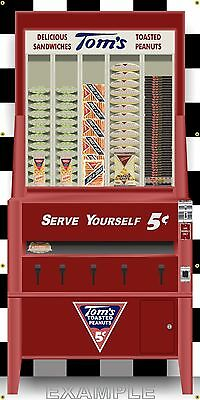 Tom's Toasted Peanuts Vending Machine Style Banner Large Sign Garage Art 3' X 6'