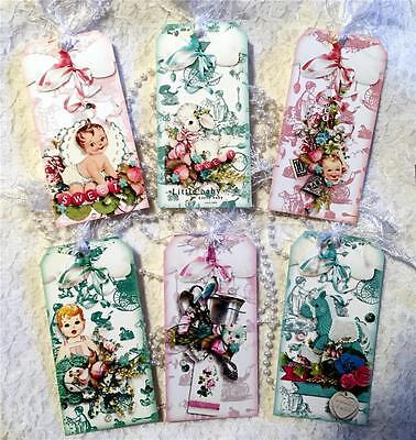"""Baby~Vintage """"New Arrival""""~6 Large Hang Tags~Scrapbook~Cards~#98~judysjemscrafts"""