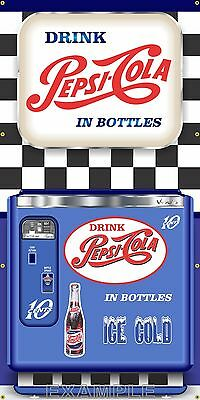 Vintage Vending Pepsi Soda Machine Style Banner Button Sign Large Art 3' X 6'
