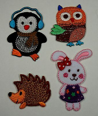 Penguin Rabbit Owl Hedgehog Embroidered Motifs Iron/sew On Patch Embroidery