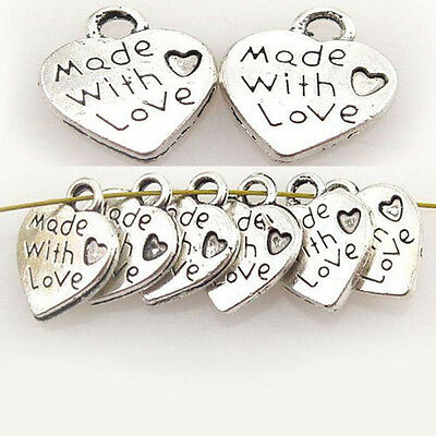 100/50Pcs Wholesale Lots Silver Plated Love Heart Beads Charms Pendants Craft