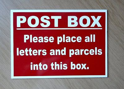 Post Box sign for letters and parcels.  Plastic Indoor/Outdoor sign.  (BL-180)