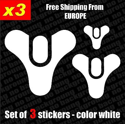 Set of 3 Destiny Game Vinyl Sticker Aufkleber Die-Cut phone, bike, car, laptop