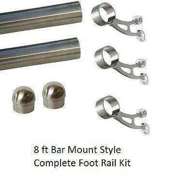8 ft Brushed Stainless Steel Foot Rail Kit - 3 Bar Mount Brackets & 2 Domed Caps
