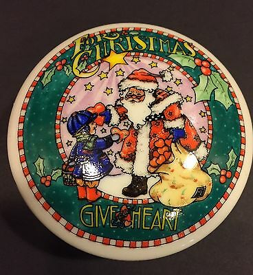 Mary Engelbreit FOR CHRISTMAS GIVE YOUR HEART Trinket Candy Dish With Cover