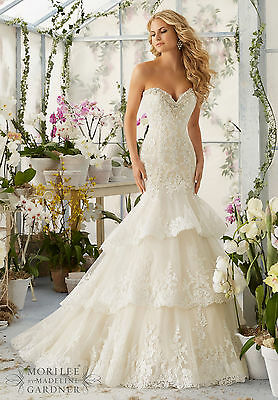 Brand New Mori Lee Tiered Mermaid Bridal Gown Style 2810 free shipping