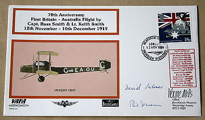 Vafa 15 Brooklands 1St Britain To Australia Flight Cover Signed By 3 Of The Crew