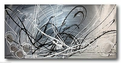 HUGE ABSTRACT CANVAS PAINTING WALL ART grey silver black Australia