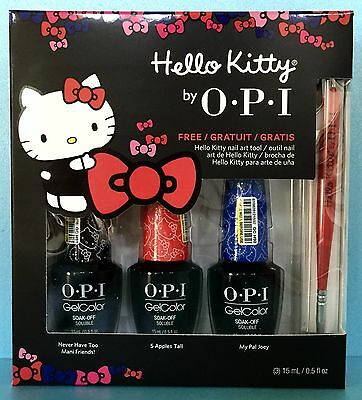 OPI HELLO KITTY GelColor Gel Polish Set + FREE Nail Art Tool - GC987 G89 G90 G91