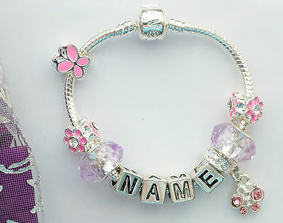 Any name charm pink butterfly bracelet little girls daughters niece cousin kids