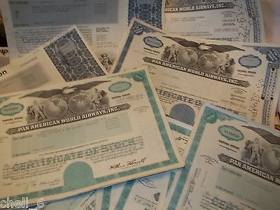 4 Mix Pan Am Corporation Airline Stock Certificate Shares American World Airways