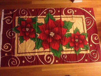Pointsettia Flag Holiday Banner Flag 3x5 Polyester Flag  Christmas free shipping