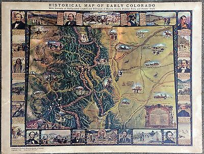 Historical Map of Early Colorado C.W. Love 1949 Colorado State Historical Soc.