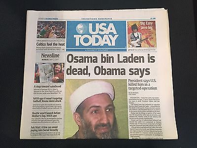 "USA TODAY May 2, 2011 ""Osama bin Laden is Dead, Obama says"""