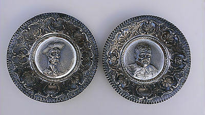 ANTIQUE PAIR STERLING SILVER PORTRAIT PLATES CHARGERS Don Quixote & Sancho Panza