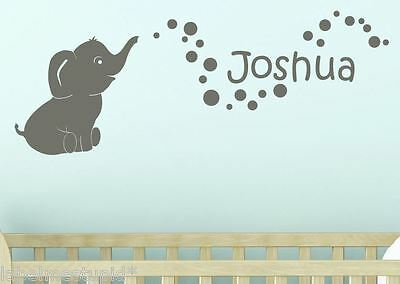 Cute Baby Elephant + Custom Name Bubbles  Bedroom Wall Sticker Personalised Kids