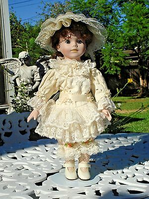 "15"" Doll Victorian Style Dress & Hat With Doll Stand"