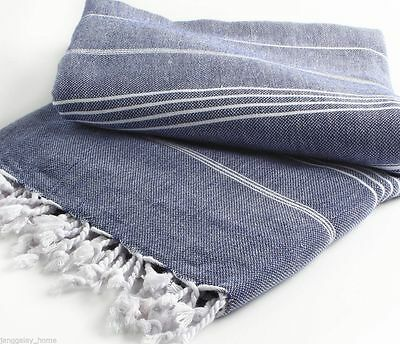 XL Extra Large Picnic Blanket/Rug/Throw Turkish Towel - Navy Blue with White