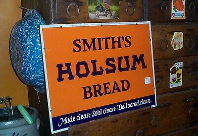 Vintage Porcelain Smith Holsum Bread Bakery Sign Kitchen Decor 19X14