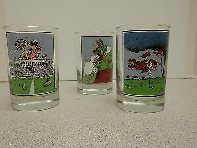 3 vtg 1982 Gary Patterson Arby's Collector Series glasses tumblers Comic Sports