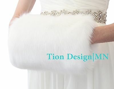 White Faux Fur Hand Muff Adult | Tion Design | MN
