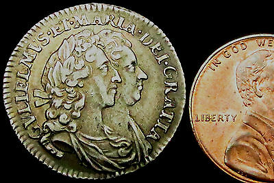 P616: 1693 William & Mary Silver Sixpence, Toned, VF+, ex Peter Viola collection