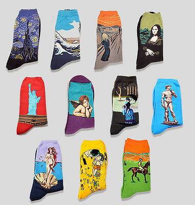 Famous Painting Socks Starry Night The Scream Venus Great Waves and More 39-45
