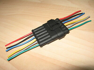 Weatherproof Automotive Connector Pair 6-pin Male/Female 10Amps 18AWG #E38P