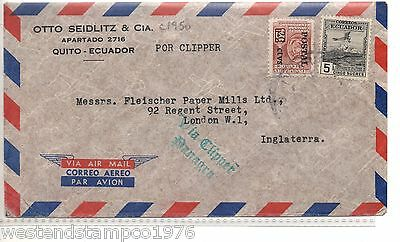 AIRMAIL ECUADOR-LONDON c1950 ''VIA CLIPPER PANAGRA'. VERY EARLY JET LINER