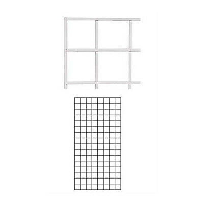 Lot of 2 New Retail White Wire Grid Wall Panel 2' x 4'