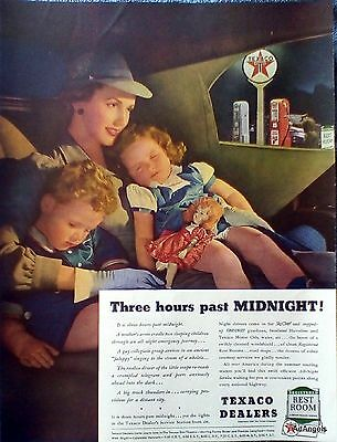1940 Texaco Mother Cradling Sleeping Children Three Hours Past Midnight ad
