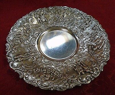 9 Ornate Figural Silverplate Bread and Butter Plates - Cross London (#H48)