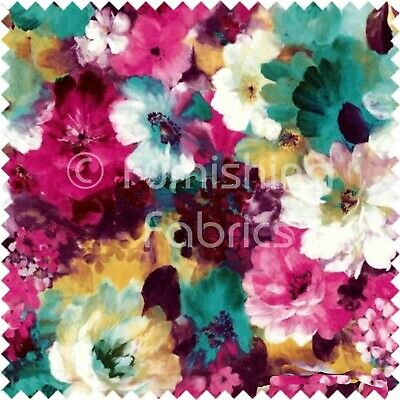 Flower Floral Pattern Pink Green Print Velvet Upholstery Curtain Use New Fabric