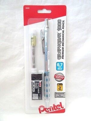 Pentel GraphGear 1000 Premium Mechanical Pencil BUNDLE, 0.7mm, & Erasers NEW