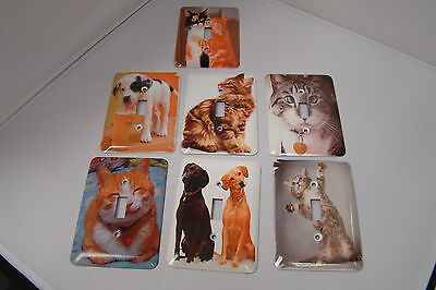 Set of Seven Dog and Cat Light Switch Covers