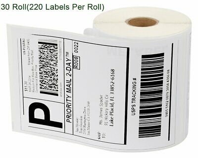 30 Rolls 4x6 Thermal Labels 220/Roll Compatible 1744907 Dymo 4XL LabelWriter