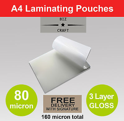1000x A4 Laminating Pouches 80 micron Gloss 3 Layer BULK WHOLESALE FREE SHIPPING