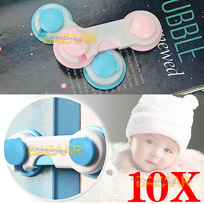 10X Cute Safety Adhesive Kids Baby Child Lock For Door Drawers Cupboard Cabinet