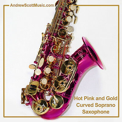 Curved Soprano Saxophone, Hot Pink and Gold - Masterpiece