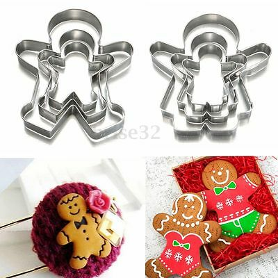 3pcs Christmas Ginger Bread MAN WOMAN BOY GIRL Cake Pastry Cookie Biscuit Cutter