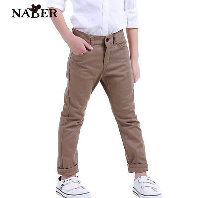 Kids Boys' Dress Trousers Casual Skinny Khaki Chinos Suit Trousers Age 4-13