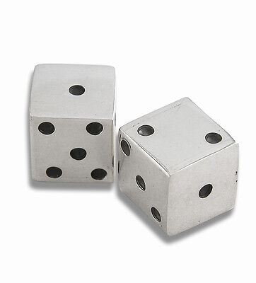 Pair Solid Silver Dice Playing / Gaming For Use (Bnib)