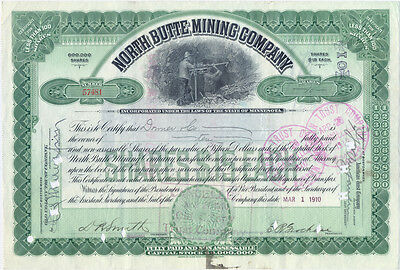 USA North Butte Mining Company Aktie 15 Dollar 1910 cancelled deko Bergbau grün