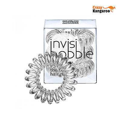 Invisibobble Traceless Hair Ring and Bracelet Band Crystal Clear Pack of 3
