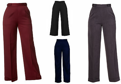 New VTG Wartime 1920s 1930s 1940s Style Wide Leg High Waist Swing Trousers