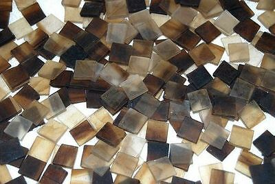"""100 1/2"""" Chestnut Brown Tumbled Stained Glass Mosaic Tiles, Tile"""