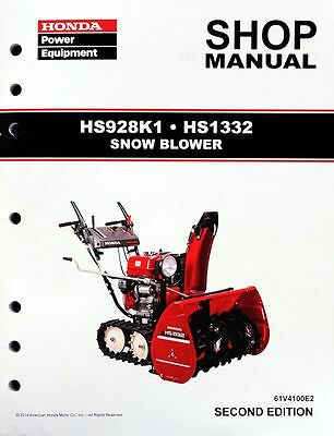 Honda HS928 HS1332 Snow Blower Thrower Service Repair Shop Manual