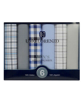 Men's 6pc. Solid & Plaid Fancy Cotton Handkerchiefs (MFB1526)